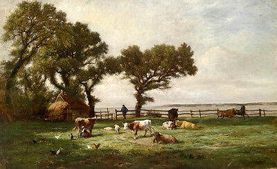 Oil painting nice landscape Spring pasture with cows horses cocks hens on canvas