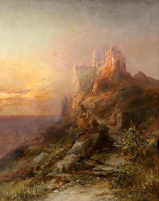 Large Oil painting nice landscape & castle in the morning canvas