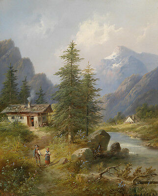 Large Oil painting farmers couple with their house river in mountains landscape
