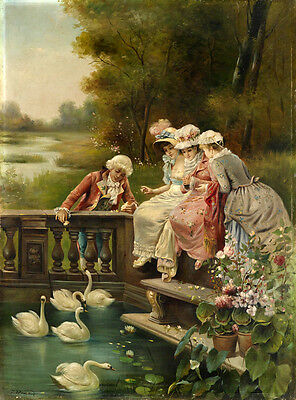 Large Oil painting nice young girls with young man feeding the swans by creek