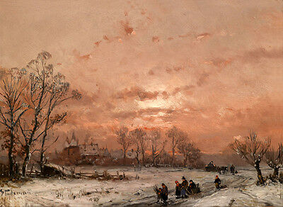 Large Oil painting Russia's northern town winter landscape in the sunset canvas