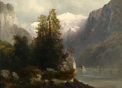 Dream-art Oil painting nice mountains landscape with river in the morning canvas