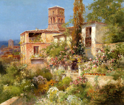 Dream-art Oil painting Impression Style landscape with fresh flwoers an houses