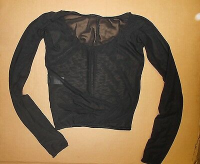NWT Black Micromesh long sleeve top Sheer Adult Dance theatrical costume