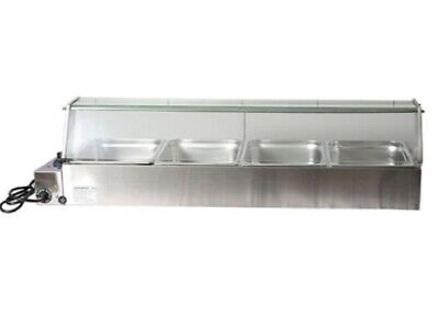 New Glass Hood For Stainless Steel Food Warmer Bain Marie With 4 X Gn Trays