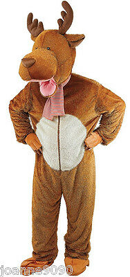 Adult Reindeer Moose Mascot Stag Party Fancy Dress Costume Outfit Onesie & Head