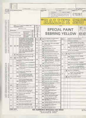 1970 Oldsmobile Rallye 350 Dealer New Car Order Form mx9091