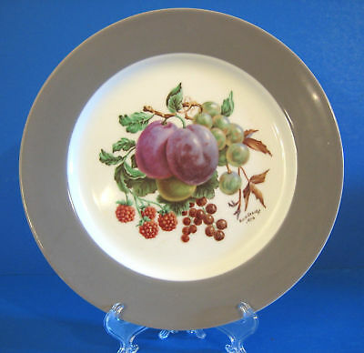 1950's PLUMS Iroquois Plate White Gray Band China Blanks Hand Painted Fruit