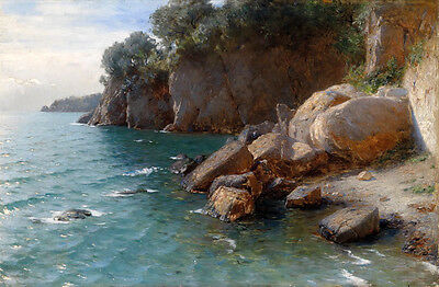 Huge Oil painting beautiful landscape Scenic sea shore handpainted free shipping