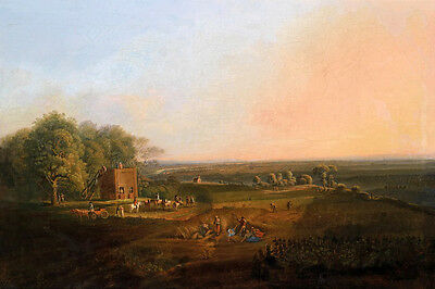 Free postage Oil painting landscape people running carriage cows village canvas