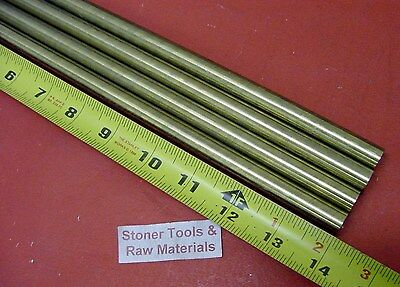"""4 Pieces 1/2"""" C360 BRASS SOLID ROUND ROD 14"""" long New Lathe Bar Stock H02 .50"""""""