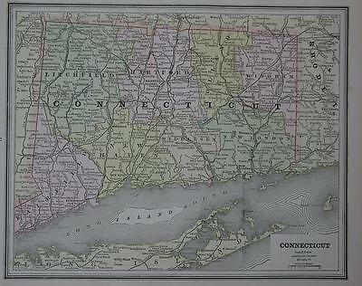 1887 Connecticut  Antique Color Atlas Map** 126 years-Old!!