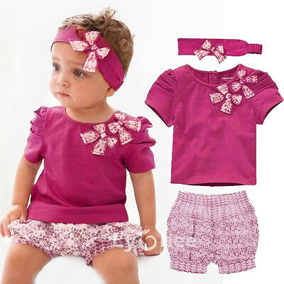 Toddler Baby Infant Clothes Girl Kids Bow Top+Pant+Headband 3Pcs Outfit Set 0-3Y