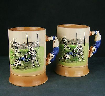 Nice pair of Art Deco Authur Wood 'Sporting Series' mugs featuring Rugby Players