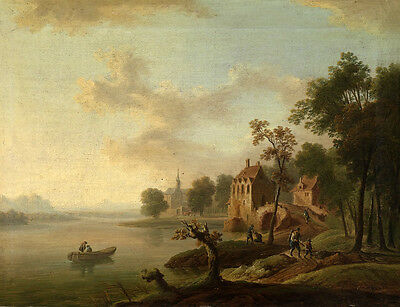 Huge Oil painting sunset landscape with church and canoe on the river canvas