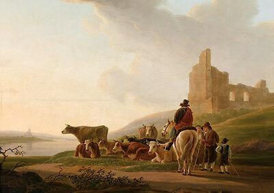 Hand painted Oil painting horseman farmers by the river with their cows castle
