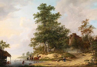 Hand painted Oil painting horseman with his horses by the river in sunset summer