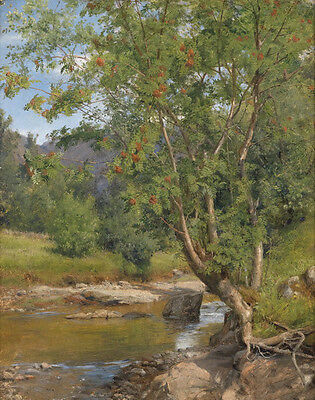 Great oil painting spring landscape with green trees along the creek brook