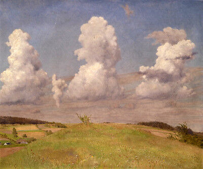 Art oil painting nice field landscape mushroom cloud rising After the explosion