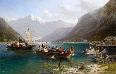 Handpainted Oil painting happy people Dragon Boat Race on the river landscape