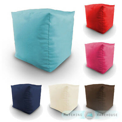 Cotton Twill Filled Bean Bag Cube Footstool Poufe Seat Foot Rest Children's Kids