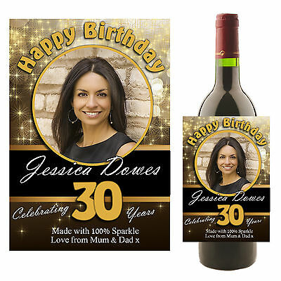 Personalised Wine Champagne Bottle PHOTO Label Black & Gold N9 ~ Birthday Gift