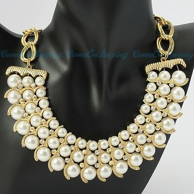 New Fashion Gold Chain White Crystal Resin Pearl Statement Pendant Bib Necklace