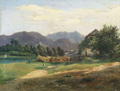 Oil painting stunning landscape farmer's house by the river in the morning