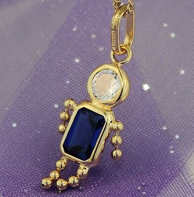 "Yellow Gold ""BLUE GEM BABY BOY CHARM"" Brand New & Guaranteed Genuine 9K Gold"