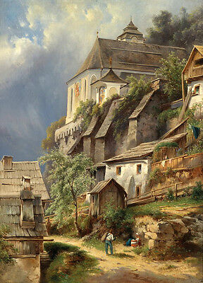 Oil painting great buildings old village in sunset landscape with Villagers