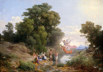 Art Oil painting Baptism of Christ by the creek landscape with angels on canvas