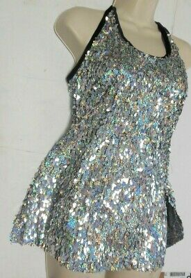 NWT Sequin Teardrop Halter Dress Top Hologram Silver Ch/Ladies Blk Velvet trim