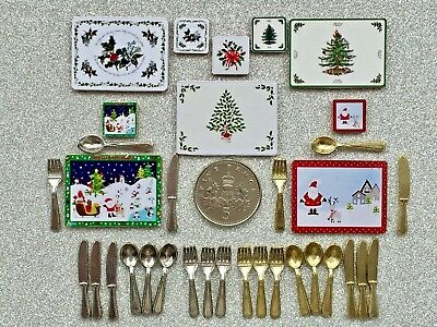 4 DOLLS HOUSE MINIATURE XMAS PLACEMATS & COASTERS Gold/Silver CUTLERY 5 DESIGNS