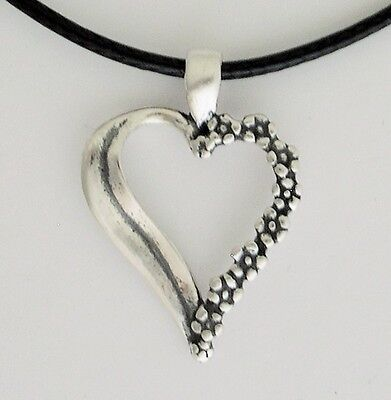 FORGET ME NOT HEART PENDANT Necklace 0.925 Sterling Silver Love & Undying Memory