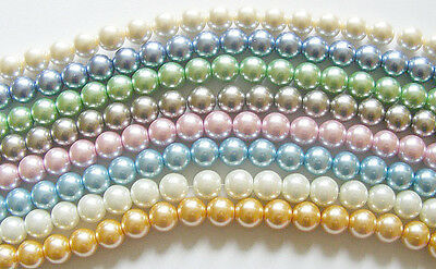 1 Strand Czech Glass Pearl Beads - 10mm - approx 40 Beads - Choose Colour