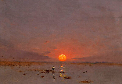 Art Oil painting sunrise landscape with bird in the river canvas