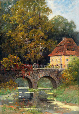 Art Oil painting landscape with house and bridge over the river canvas