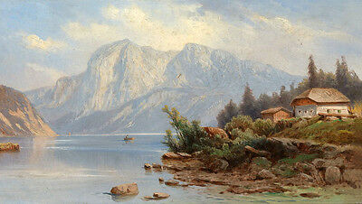 Art Oil painting nice mountains landscape with house by the river canvas
