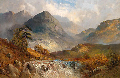 Large art Oil painting mountains landscape with brook in sunset on canvas