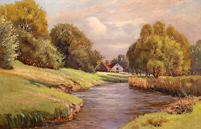Large art Oil painting sunset mid-autumn landscape with house river canvas
