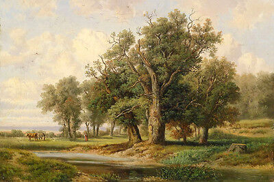 Large art Oil painting Ranche with cows cattles in landscape with trees creek