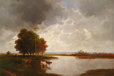 Dream-art Oil painting cows cattles in landscape by the river before storm art
