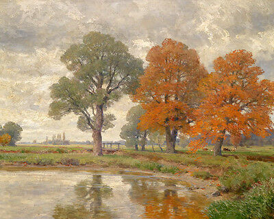 Large art Oil painting huge autumn trees by the pond with cows in landscape