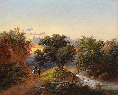 Large Oil painting horseman with farmer on the way to home in landscape by creek