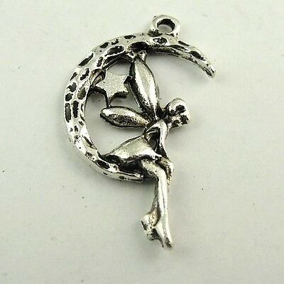 60X Antiqued Silver Tone Moon Star Fairy Pendant Findings Charms 22*15*2mm