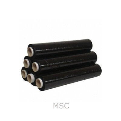 6 ROLLS OF BLACK STRONG PALLET STRETCH SHRINK CLING FILM WRAP 25mu (500mm x 250m