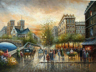 Charming Oil painting Paris street scene landscape with people by the river