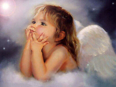 Charming Oil painting lovely and cute little angel girl on cloud very beautiful