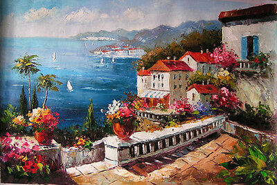 Charming Oil painting summer Mediterranean sea landscape with flowers canvas
