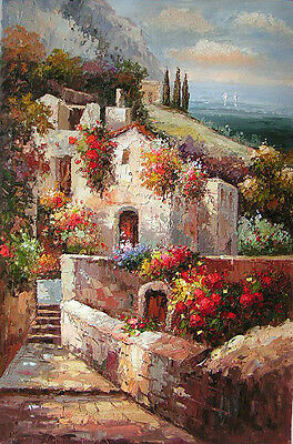Dream-art Oil painting summer Mediterranean sea landscape with flowers houses